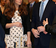 "Britain's Kate the Duchess of Cambridge with her husband Prince William , right, and his brother Prince Harry, not pictured, attend the inauguration of ""Warner Bros. Studios Leavesden"" near Watford ..."