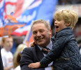 Glasgow Rangers' manager McCoist celebrates winning the league with his son Arran following their Scottish 3rd Division soccer match against Berwick Rangers in Glasgow