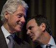Former President Bill Clinton listens to Rio de Janiero Mayor Eduardo Paes at the Clinton Global Initiative (CGI) Mid-Year Meeting Monday, May 6, 2013 in New York. Details for CGI Latin America and ...