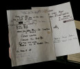 Hand written lyrics by Dennis Wilson for a song called &#39;End of the Show&#39; is displayed in London, Thursday, April 18, 2013. A large archive collection of The Beach Boys early compositions, contracts ...