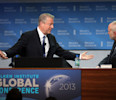 Former U.S. Vice President Al Gore speaks with CEO Milken Institute Michael Klowden at the Milken Institute Global Conference in Beverly Hills, California.