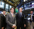 Actor Robert Downey Jr . tours the floor at the New York Stock Exchange to promote his new movie 'Iron Man 3'