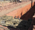 File photo of brick layers working at a brick factory on the outskirts of Giza governorate
