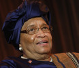 Sirleaf smiles during an onstage newsmakers interview with Reuters in Washington