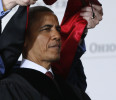 U.S. President Obama receives an honorary doctoral degree at Ohio State University