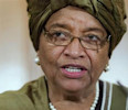 Liberia 's President Sirleaf speaks to the media following a UN High Level panel meeting at Number 10 Downing Street, London