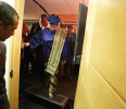 Sirleaf departs after after a newsmakers interview onstage with Reuters in Washington
