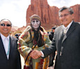 This April 2012 photo released by the Navajo Nation shows, actor Johnny Depp , center, shaking hands with Navajo Nation President Ben Shelly and Navajo Nation Vice President Rex Lee Jim in Monument ...