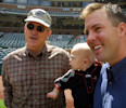 Hall of Fame pitcher Nolan Ryan, left, grandson Jackson Ryan, 1, and son Reid Ryan, right, General Manager of the minor league Round Rock Express, are shown before the Houston Astros hosted the ...
