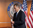 House Speaker John Boehner of Ohio, departs a meeting with the news media at the U.S. Capitol in Washington, Thursday, May 9, 2013. (AP Photo/Cliff Owen)