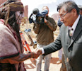 "This April 2012 photo released by the Navajo Nation shows, actor Johnny Depp shaking hands with Navajo Nation President Ben Shelly in Monument Valley during the filming of ""The Lone Ranger."" The ..."