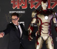 "File picture of cast member Robert Downey Jr . posing for a photo during a promotional event of ""Iron Man 3"" at the Imperial Ancestral Temple of Beijing's Forbidden City"
