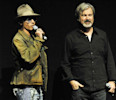 "File - In this Wednesday, April 17, 2013 file photo, Johnny Depp , left, who plays Tonto in the upcoming film ""The Lone Ranger,"" speaks to theater owners and media as the film's director Gore ..."