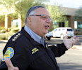 FILE - In this Nov. 1, 2011 photo, Maricopa County Sheriff Joe Arpaio speaks to the media after his deputies conducted a raid at a printing company in Phoenix, arresting six suspects out of 17 they ...