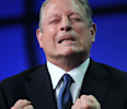 Former U.S. Vice President Al Gore emphasizes a point as he speaks at the Milken Institute Global Conference in Beverly Hills, California.