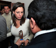 Opposition lawmaker Maria Corina Machado is escorted by party members as she arrives to her political party's headquarters before a press conference in Caracas, Venezuela, Tuesday, April 30, 2013 ...