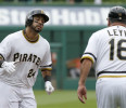 Pittsburgh Pirates ' Pedro Alvarez (24) is greeted by Pittsburgh Pirates third base coach Nick Leyva (16) after hitting a home run in the fifth inning of the MLB baseball game against the Houston ...
