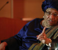 Sirleaf makes a point during an onstage newsmakers interview with Reuters in Washington