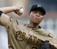 Pittsburgh Pirates starting pitcher Jeanmar Gomez throws to the Houston Astros in the first inning of the baseball game Friday, May 17, 2013, in Pittsburgh
