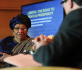 Sirleaf sits for a newsmakers interview onstage with Reuters journalist Threlfall in Washington