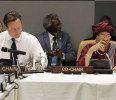 British Prime Minister David Cameron and Liberia 's President Ellen Johnson Sirleaf prepare for the second day of the meeting of the High Level Panel on the Post-2015 Development Agenda at United ...