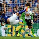 Leicester's Chris Wood, left, attempts an overhead kick but strikes Everton's Phil Jagielka in the head during the English Premier League soccer match between Leicester City and Everton at King Power Stadium, in Leicester, England, Saturday, Aug 16, 2014