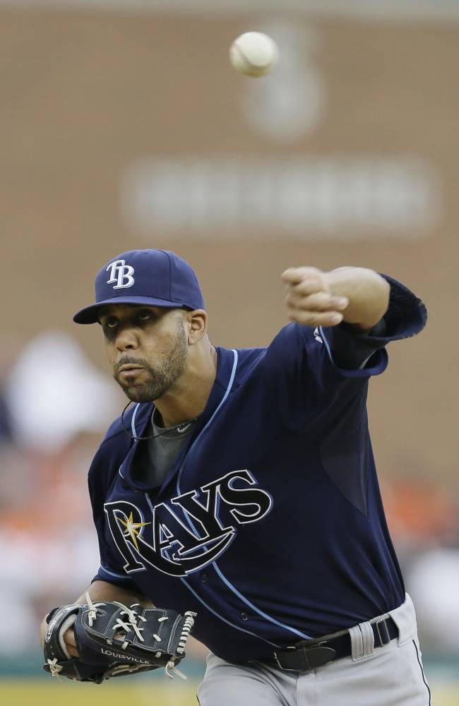 Tampa Bay Rays starting pitcher David Price throws during the second inning of a baseball game against the Detroit Tigers in Detroit, Sunday, July 6, 2014. (AP Photo/Carlos Osorio)