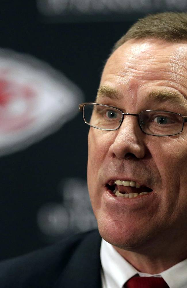 In this Jan. 14, 2013 file photo, Kansas City Chiefs general manager John Dorsey speaks at a news conference in Kansas City, Mo. He was lured away from the Green Bay Packers to be the GM of the Chiefs, and then went about rebuilding the once-proud franchise fallen on hard times. The fruits of his labor are evident with the Chiefs headed to the playoffs