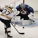 Boston Bruins center Patrice Bergeron (37) scores on Colorado Avalanche goalie Semyon Varlamov (1) the first period of an NHL hockey game in Denver on Friday, March 21, 2014 The Associated Press