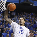 Kentucky's Willie Cauley-Stein goes up to dunk during the second half of an NCAA college basketball game North Carolina, Saturday, Dec. 13, 2014. Kentucky won 84-70. (AP Photo/James Crisp)