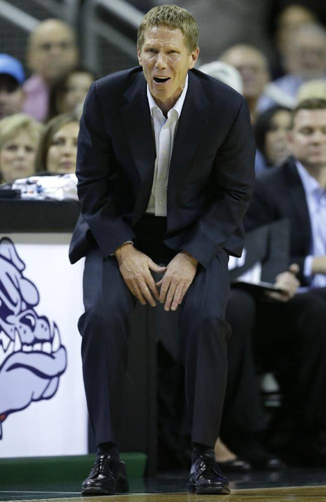 Gonzaga head coach Mark Few reacts to a play against South Alabama in the first half of an NCAA college basketball game, Saturday, Dec. 14, 2013, in Seattle