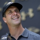 Baltimore Ravens head coach John Harbaugh speaks at a news conference after NFL football practice at the team's practice facility in Owings Mills, Md., Wednesday, May 22, 2013. (AP Photo/Patrick Semansky)