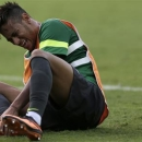 Brazil's national soccer team player Neymar reacts during a training session in Belo Horizonte June 25, 2013. Brazil will play against Uruguay in their Confederations Cup semi-final soccer match on Wednesday. REUTERS/Ricardo Moraes