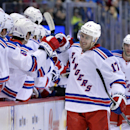 New York Rangers defenseman John Moore (17) is congratulated by teammates on the bench after scoring a goal against the Colorado Avalanche during the first period of an NHL hockey game on Thursday, April 3, 2014, in Denver The Associated Press