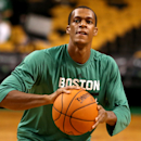 BOSTON, MA - OCTOBER 22: Rajon Rondo #9 of the Boston Celtics warms up prior to a preseason game against the Brooklyn Nets at TD Garden on October 22, 2014 in Boston, Massachusetts. (Photo by Mike Lawrie/Getty Images)