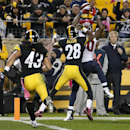 Houston Texans wide receiver Andre Johnson (80) can't hang onto a pass from quarterback Ryan Fitzpatrick with Pittsburgh Steelers cornerback Cortez Allen (28) defending late in the fourth quarter of an NFL football game in Pittsburgh, Monday, Oct. 20, 201