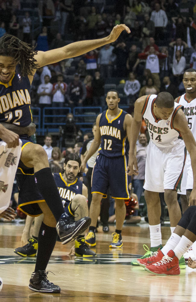 Indiana Pacers' Chris Copeland (22) reacts after sinking a game-winning shot against the Milwaukee Bucks during the second half of an NBA basketball game on Wednesday, April 9, 2014, in Milwaukee. The Pacers defeated the Bucks 104-102. (AP Photo/Tom Lynn)