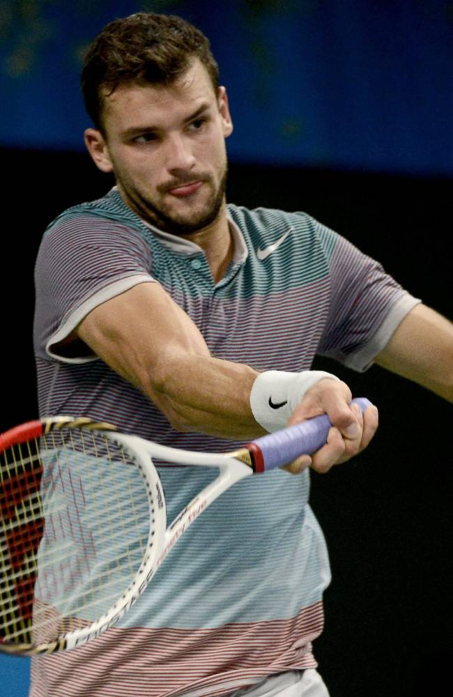 Bulgaria's Grigor Dimitrov returns the ball to Spain's David Ferrer during the singles final of the ATP Stockholm Open tennis tournament at the Royal Lawn Tennis Club in Stockholm, Sweden, Sunday, Oct. 20, 2013. (AP photo/Pontus Lundahl, TT News Agency)
