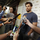 Nashville Predators defenseman and captain Shea Weber talks with reporters on the first day of NHL training camp Thursday, Sept. 18, 2014, in Nashville, Tenn. The Predators officially kick off a new era Thursday, reporting for training camp with new head