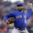 New York Mets pitcher Jon Niese works against the San Francisco Giants in the first inning of a baseball game Monday, July 6, 2015, in San Francisco. (AP Photo/Ben Margot)