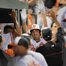 Baltimore Orioles' J.J. Hardy, center, celebrates his solo home run against the Chicago White Sox in the fifth inning of a baseball game, Thursday, Sept. 5, 2013, in Baltimore.(AP Photo/Gail Burton)
