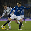 Everton's Muhamed Besic, right, fights for the ball against West Bromwich Albion's Craig Gardner during the English Premier League soccer match between Everton and West Bromwich Albion at Goodison Park Stadium, Liverpool, England, Monday, Jan. 19, 2015