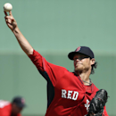 Boston Red Sox pitcher Clay Buchholz delivers a warm-up throw in the first inning an exhibition baseball game against the Tampa Bay Rays, Tuesday, March 4, 2014, in Fort Myers, Fla The Associated Press