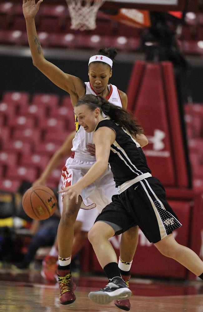 Maryland's Alicia DeVaughn, top, defends as Wake Forest's Millesa Calicott, front, drives the ball in the second half of an NCAA college basketball game on Thursday, Jan 9, 2014, in College Park, Md. Maryland won 76-49