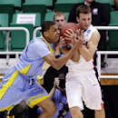 Gonzaga's Kevin Pangos, right, battles with Southern University's Malcolm Miller, left, in the first half during a second-round game in the NCAA college basketball tournament in Salt Lake City, Thursday, March 21, 2013. (AP Photo/Rick Bowmer)