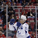 Tampa Bay Lightning's Valtteri Filppula (51), of Finland, celebrates his goal against the Detroit Red Wings during the first period of an NHL hockey game, Sunday, March 30, 2014, in Detroit The Associated Press