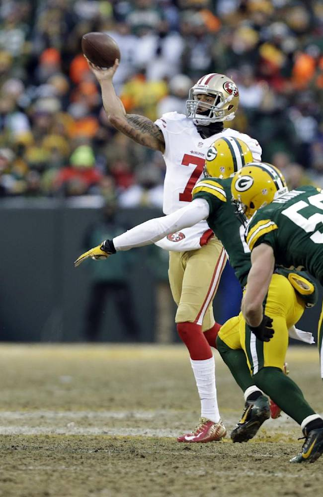 San Francisco 49ers quarterback Colin Kaepernick (7) throws a pass during the first half of an NFL wild-card playoff football game against the Green Bay Packers, Sunday, Jan. 5, 2014, in Green Bay, Wis