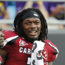 South Carolina Gamecocks's Jadeveon Clowney (7) warms up before a NCAA college football game against East Carolina in Charlotte, N.C., Saturday, Sept. 3, 2011. South Carolina defeated East Carolina 56-37. (AP Photo/Bob Leverone)