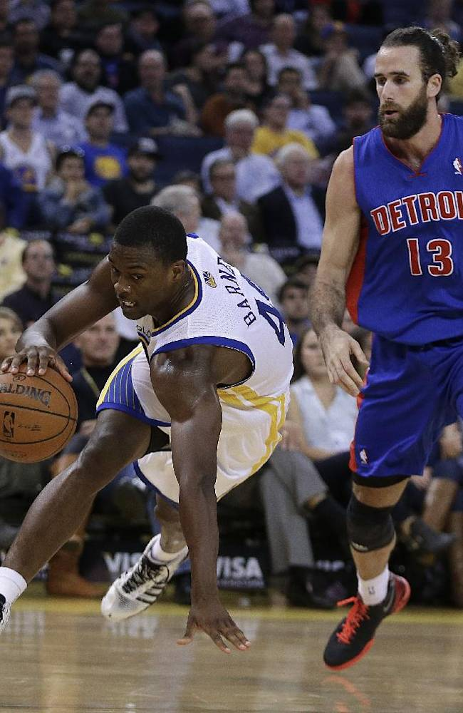 Golden State Warriors' Harrison Barnes, left, drives the ball around Detroit Pistons' Luigi Datome (13) during the second half of an NBA basketball game Tuesday, Nov. 12, 2013, in Oakland, Calif
