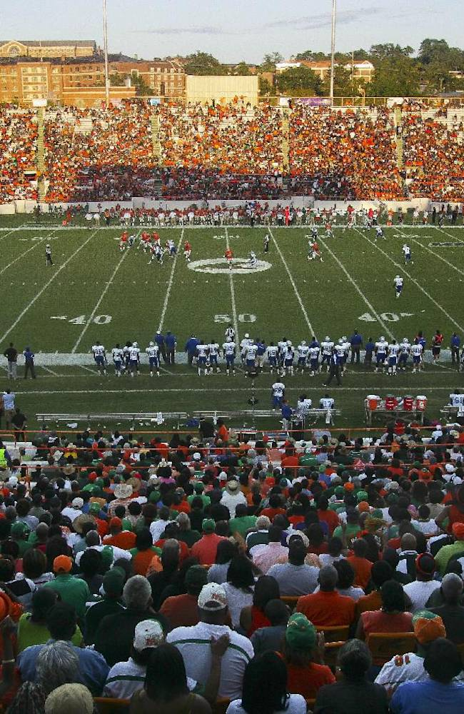 A general view of Bragg Memorial Stadium as Florida A&M plays Hampton in the first half of an NCAA college football game on Saturday, Sept. 15, 2012, in Tallahassee, Fla